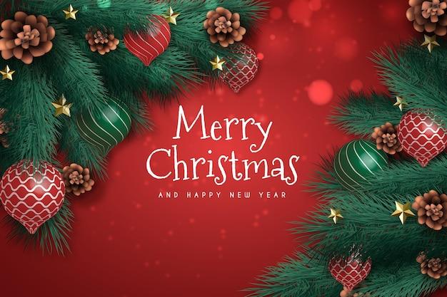 松の木の枝にスノードームと現実的なクリスマスの背景