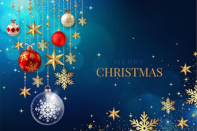 雪片と現実的なクリスマスの背景
