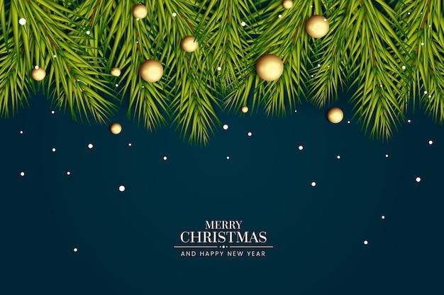 Реалистичный новогодний фон с деревом