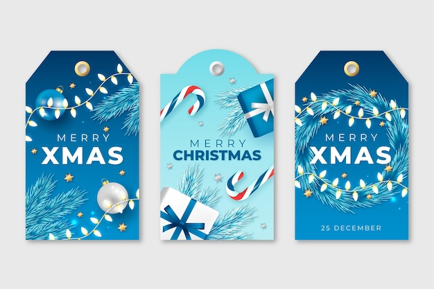 Realistic christmas badges collection