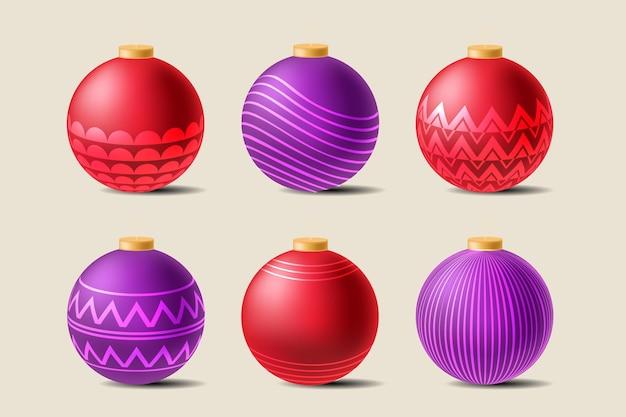 Collezione di ornamenti palla di natale realistico