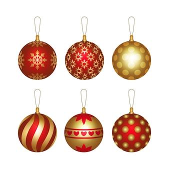 Realistic christmas ball ornaments