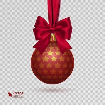 透明な背景に分離された赤いリボンと現実的なクリスマスボール