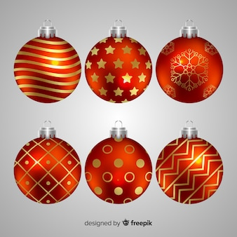 Realistic christmas balls artistic painted