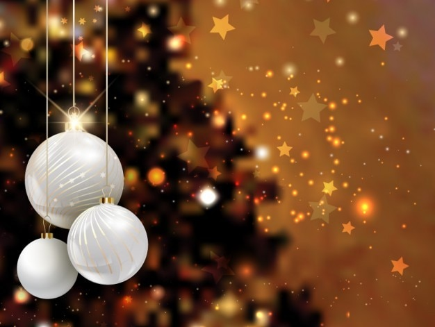 Realistic christmas balls on bright background