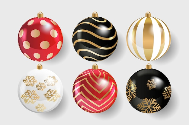Realistic christmas balls collection