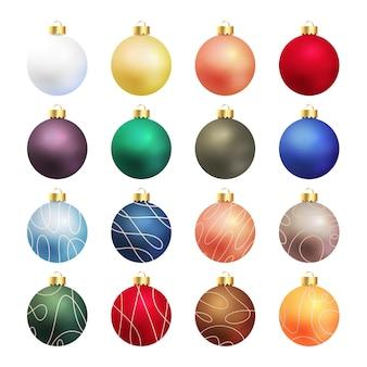 Реалистичная коллекция украшений новогодних шаров