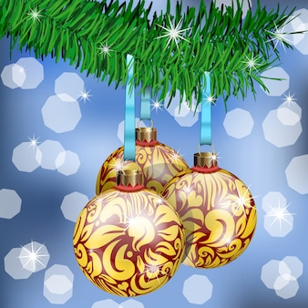 The realistic christmas balls on fir branches