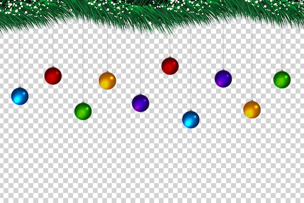 Realistic  christmas balls and fir tree for decoration and covering on the transparent background.