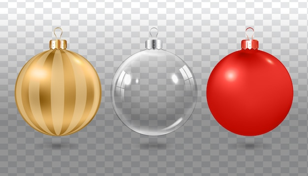 Realistic christmas balls. set of colorful  decorations.