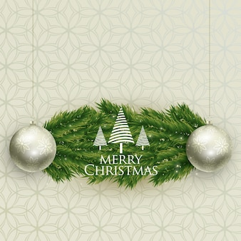 Realistic christmas balls and tree leaves backgroung