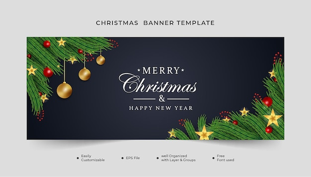 Realistic christmas banner green leaf with christmas element and golden star