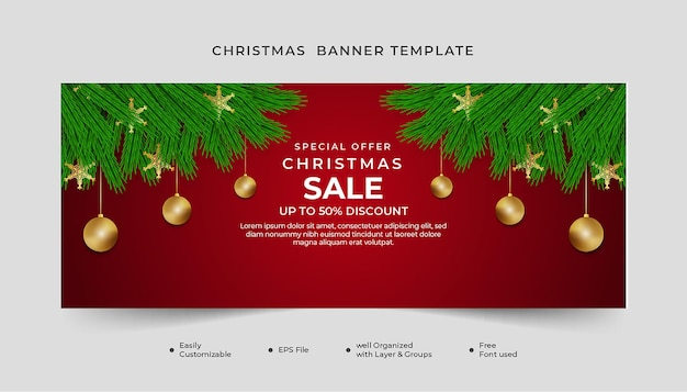 Realistic christmas banner green leaf with snowflakes and ball