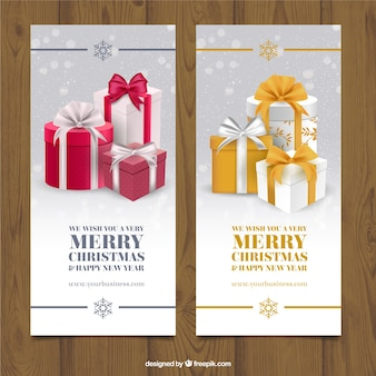Realistic christmas banner pack