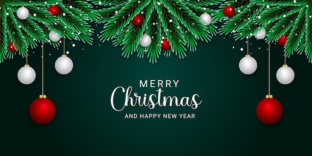 녹색 배경으로 현실적인 크리스마스 배너 빨간색과 흰색 공 황금 눈