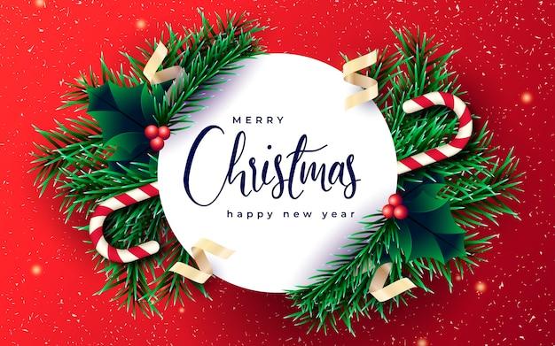 枝と赤い背景のリアルなクリスマスバナー