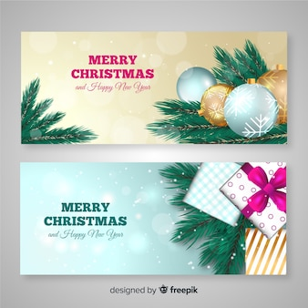 Realistic christmas banners template