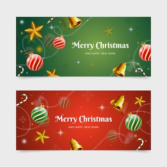 Реалистичные рождественские баннеры шаблон