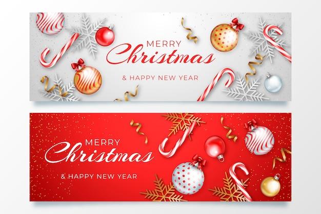 Реалистичные рождественские баннеры