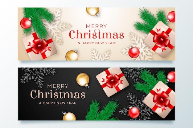 リアルなクリスマスバナー 無料ベクター