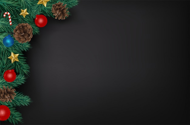 Realistic christmas branches on black background