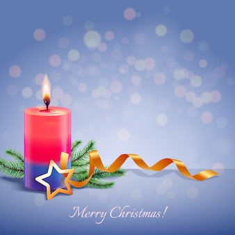 Realistic christmas candle background concept