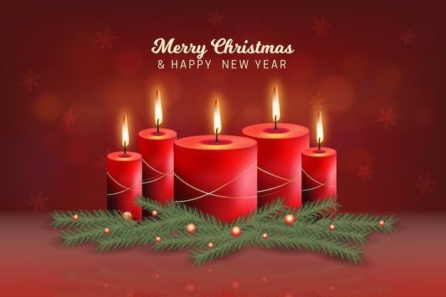 현실적인 크리스마스 촛불 배경