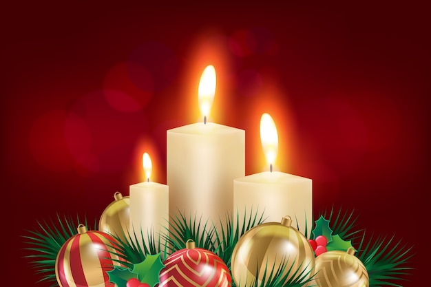 Realistic christmas candle background