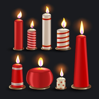 Realistic christmas candle collection