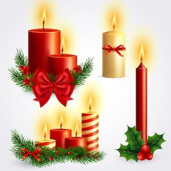 Реалистичная рождественская коллекция свечей