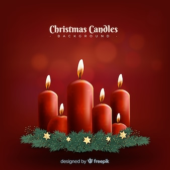 Realistic christmas candles background