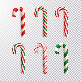 Realistic christmas candy cane collection