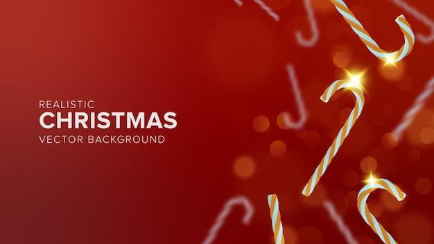 赤い背景の上の現実的なクリスマスのお菓子
