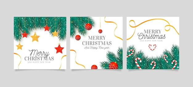 Realistic christmas cards collection