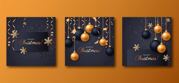 Коллекция реалистичных рождественских открыток
