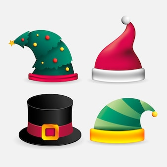 Realistic christmas character hats illustration
