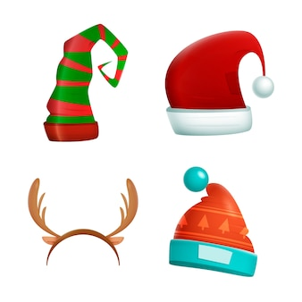 Realistic christmas character hats