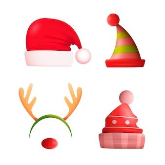 Realistic christmas character hats