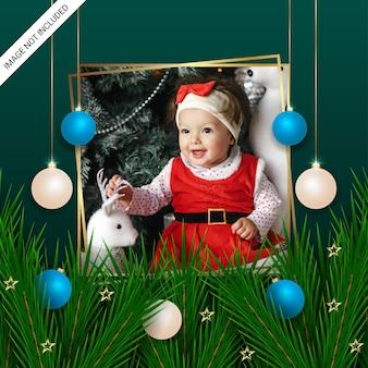 Realistic christmas clasic photo freme green leaf christmas balls golden stars