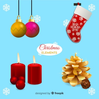 Realistic christmas decoration elements pack