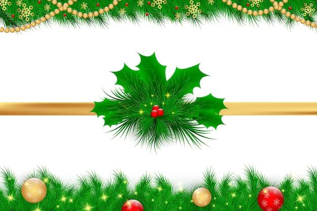 Realistic christmas decoration set