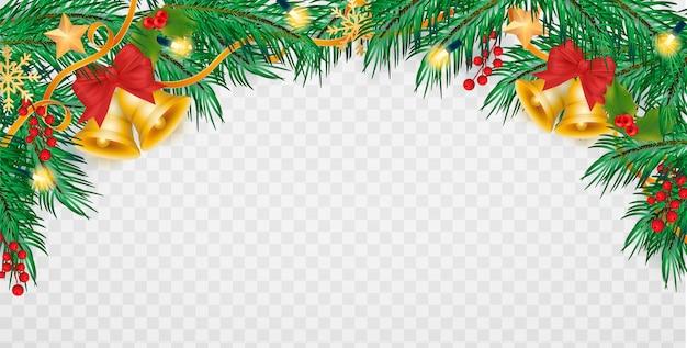투명 배경으로 현실적인 크리스마스 장식