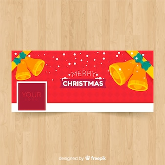 Realistic christmas design facebook cover