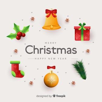 リアルなクリスマス要素のコレクション