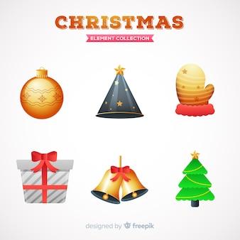 現実的なクリスマス要素セット