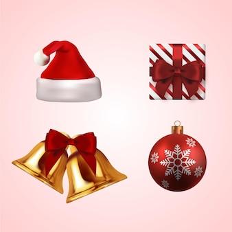 現実的なクリスマスの要素セット