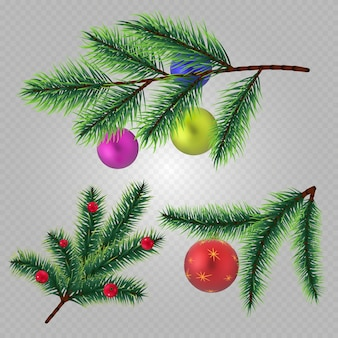 Realistic christmas fir tree branches with balls and berries isolated on transparent background. christmas tree branch evergreen, glitter light toys illustration