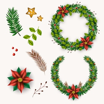 Realistic christmas flower & wreath collection