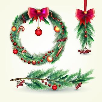 Реалистичная рождественская коллекция цветов и венков