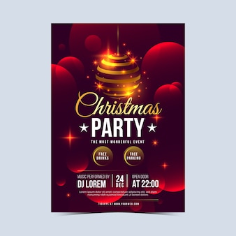 Realistic christmas flyer template